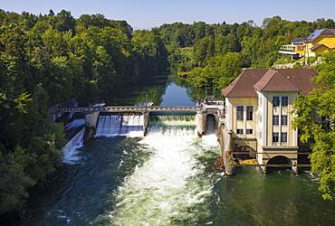 River Traun, Siebenbrunn power plant at the Traun accident, Desselbrunn, Hausruckviertel, Upper Austria, Austria, Europe