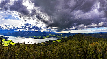 Cloud atmosphere, thunderclouds, view from the Kulmspitze observation tower, Mondsee, Salzkammergut, Upper Austria, Austria, Europe