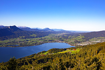 View from the observation tower Kulmspitze into Mondseeland, Mondsee, Salzkammergut, Upper Austria, Austria, Europe