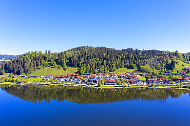 Hopfen am See, Hopfensee, near Fuessen, drone uptake, Ostallgaeu, Allgaeu, Swabia, Alpine foreland, Bavaria, Germany, Europe