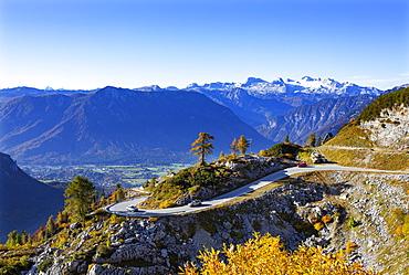 View from the Loser Panoramastrasse into the Ausseerland and to the Dachstein, Altaussee, Salzkammergut, Steiermarkt, Austria, Europe