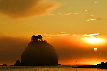 Sunset over the Pacific Ocean at La Push, Olympic Coast, Washington, USA, North America