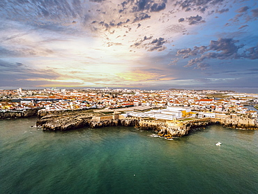 Aerial view, city view with fortress, peninsula with high cliffs, Peniche, Centro region, Portugal, Europe