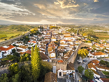 Aerial view of Obidos with historic city wall, district of Leiria, Portugal, Europe