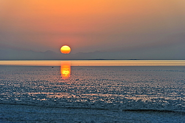 Sunrise over the Assale Salt Lake, Hamadela, Danakil Depression Afar Dreick, Ethiopia, Africa