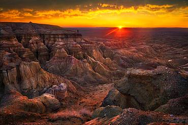 Beautiful sunrise in Tsagaan suvarga. Dundgovi province, Mongolia, Asia