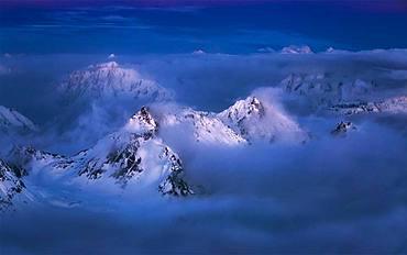 Majestc Caucasus mountains looking from mt. Elbrus. Caucasus mountains region, Russia, Europe
