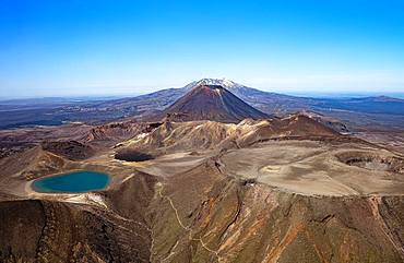 Aerial view, Blue Lake in front, Mount Ngauruhoe and Ruapehu in the back, Tongariro National Parks, North Island, New Zealand, Oceania