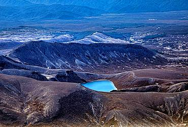 Aerial view, Upper Tama Lake, Tongariro National Park, North Island, New Zealand, Oceania