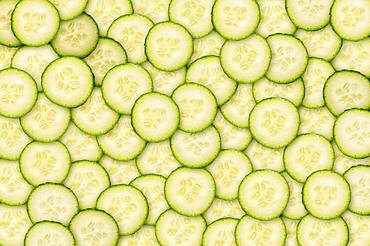 Cucumbers in slices, organic farming, background image, Austria, Europe