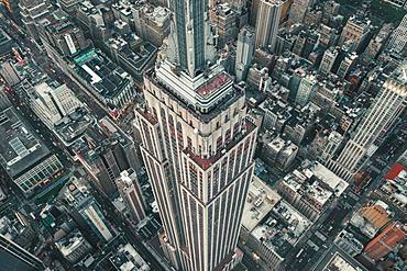 Drone shot, Empire State Building, Manhattan, New York City, USA, North America