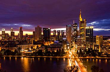 Nightly skyline with the Main River, Frankfurt am Main, Germany, Europe