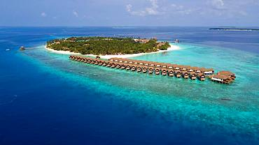 Bird's eye view, view of Maldives island with bungalows on stilts in lagoon, Filaidhoo, Raa Atoll, Maldives, Asia