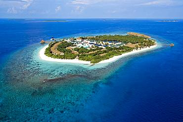 Bird's eye view, Maldives island with coral reef, Filaidhoo, Raa Atoll, Maldives, Asia