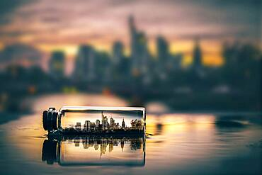 Digital Composing, skyline at sunset in a message in a bottle, Frankfurt am Main, Germany, Europe