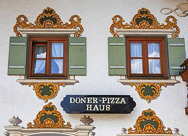 Lueftlmalerei, facade painting with advertising board, Inzell, Chiemgau, Upper Bavaria, Bavaria, Germany, Europe