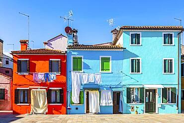Colourful house facades in Burano, Burano Island, Venice, Veneto, Italy, Europe