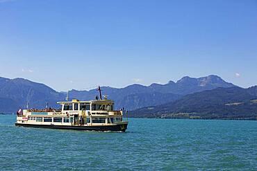 Liner with Schafberg, Weyregg am Attersee, Salzkammergut, Upper Austria, Austria, Europe