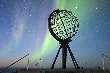 Steel globe at North Cape with northern lights, Finnmark, Norway, Europe