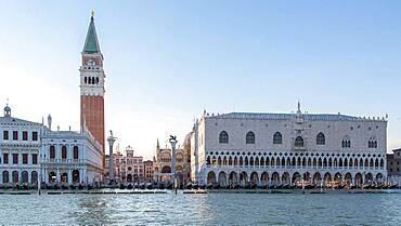 View of St. Mark's Square from the water, with Doge's Palace and Campanile di San Marco, Venice, Italy, Europe