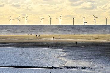 North Sea with the sandbank Hohes Riff, Borkum, East Frisian Island, East Frisia, Lower Saxony, Germany, Europe
