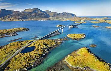 Aerial view of Stor Bridge, Fredwang, Ramberg, Lofoten, Nordland, Norway, Europe