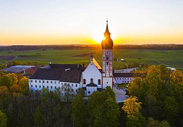 Monastery Andechs at sunrise, Fuenfseenland, Pfaffenwinkel, drone picture, Upper Bavaria, Bavaria, Germany, Europe