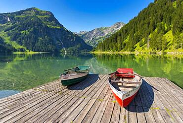 Rowing boats, Vilsalpsee in the nature reserve Vilsalpsee, Tannheimer Tal, Allgaeu, Tyrol, Austria, Europe - 832-388789
