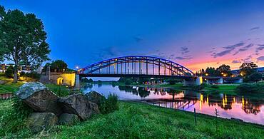 Evening mood at the Weser, illuminated bridge, sunset, Rinteln, Germany, Europe