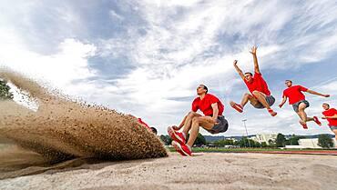 Man, athletics, long jump series, Germany, Europe