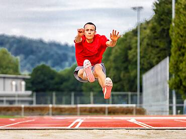 Man, athletics, in the long jump, Germany, Europe