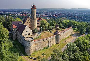 Altenburg, medieval hilltop castle at 400m, landmark of Bamberg, first documented in 1109, aerial view, Bamberg, Steigerwaldhoehe, Upper Franconia, Franconia, Germany, Europe