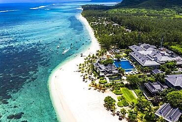Aerial view, Berg le Morne, with luxury hotel LUX Le Morne Resort, Mauritius, Africa
