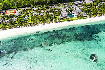 Aerial view, Beach le Morne, with luxury hotel LUX Le Morne Resort, Mauritius, Africa