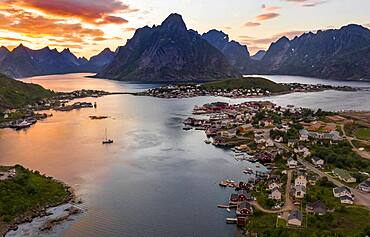 Aerial view, sunset at Reinefjord with mountains, view of Reine, Lofoten, Nordland, Norway, Europe