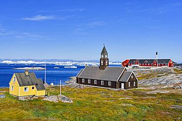 Zion Church and Hospital in Disko Bay, Ilulissat, West Greenland, Greenland, North America