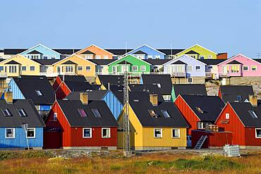 Colourful wooden houses, Disko Bay, Ilulissat, West Greenland, Greenland, North America
