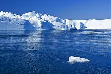 Gigantic icebergs in the ice fjord, UNESCO World Heritage Site, Ilulissat, Disko Bay, West Greenland, Greenland, North America