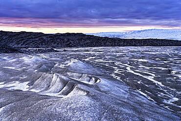 Inland ice at sunset, Kangerlussuaq, Greenland, North America