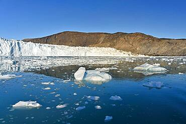 Eqi glacier with drift ice in the foreground, Disko Bay, West Greenland, Greenland, North America