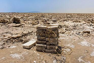 Stacked salt plates, dry salt lake at Dallol, Danakil Depression, Afar Region, Ethiopia, Africa