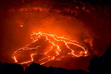 Glowing active lava lake, Erta Ale shield volcano, Danakil depression, Afar region, Ethiopia, Africa