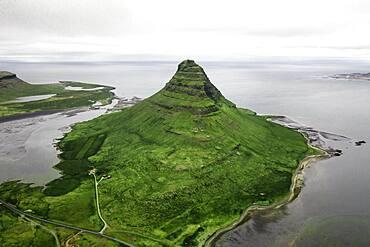 Aerial view, Kirkjufell, Grundarfjoerdur, Iceland, Europe