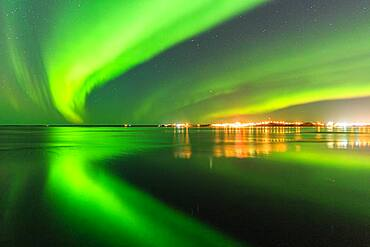 Northern Lights near Borganes, Borgarfjoerour, Vesturland, Iceland, Europe