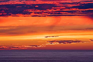 Sunset by the sea at Cape Cornwall, Celtic Sea, Cornwall, England, Great Britain