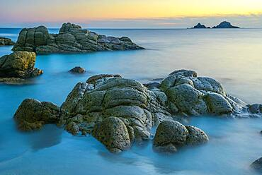 Evening mood, coastal landscape, rocky coast at Porth Nanven, St. Just, Cornwall, England, Great Britain