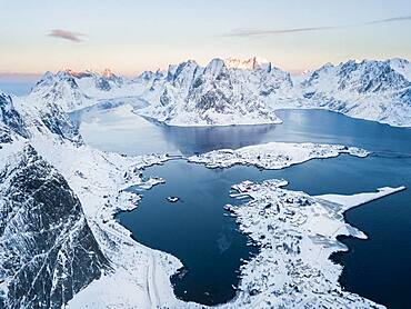 Aerial view, Reinefjord with snowy mountains, view of Reine, Lofoten, Nordland, Norway, Europe