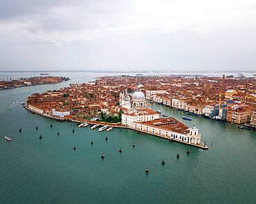 Aerial view, city view with Basilica Santa Maria della Salute, Venice, Veneto, Italy, Europe