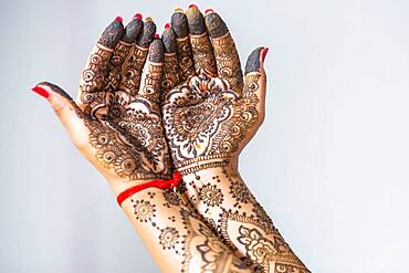 Hand of a bride painted with henna on the eve of the wedding, Port Louis, Mauritius, Africa