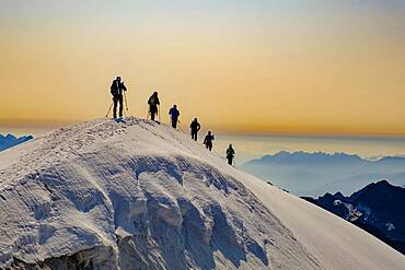 Mountaineer on the summit ridge of the Grossvenediger, Hohe Tauern National Park, Salzburger Land, Austria, Europe